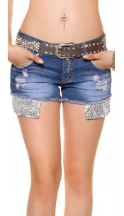 Sexy hip belt with rhinestones Silver