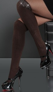 Sexy Overknee-socks with rhinestone design Brown