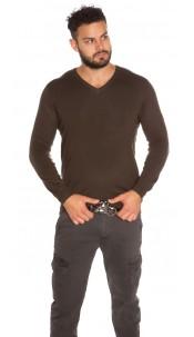 Trendy Men s V-Cut Basic jumper Khaki