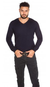 Trendy Men s V-Cut Basic jumper Navy