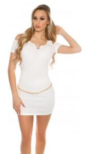 Sexy Coldshoulder shirt with V-Cut rhinestones White