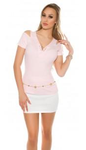 Sexy Coldshoulder Ripp Shirt V-Cut Pink
