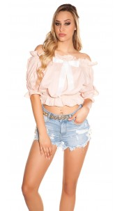 Sexy off shoulder top with bow Antiquepink