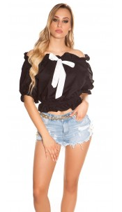 Sexy off shoulder top with bow Black