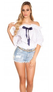 Sexy off shoulder top with bow White