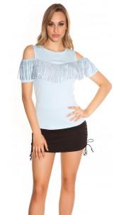 Trendy Coldshoulder Shirt with fringes & studs Babyblue