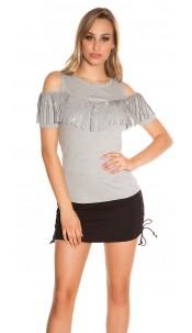 Trendy Coldshoulder Shirt with fringes & studs Grey