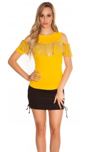 Trendy Coldshoulder Shirt with fringes & studs Mustard
