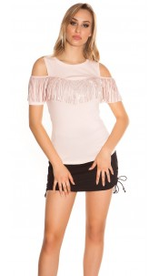 Trendy Coldshoulder Shirt with fringes & studs Pink