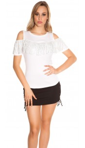 Trendy Coldshoulder Shirt with fringes & studs White