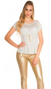 Sexy t-shirt striped with lacing Green