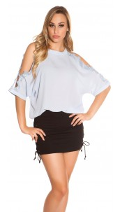 Sexy coldshoulder shirt with lace Babyblue