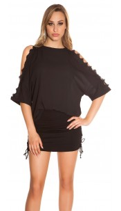 Sexy coldshoulder shirt with lace Black