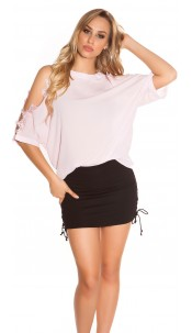 Sexy coldshoulder shirt with lace Pink