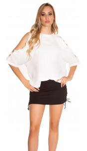 Sexy coldshoulder shirt with lace White
