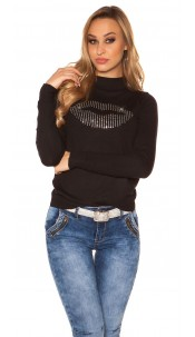 Trendy sweater with mouth rhinestone print Black