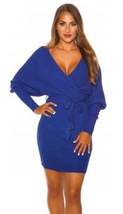 Sexy longsleeve knit dress wrap look Blue