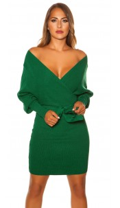 Sexy longsleeve knit dress wrap look Green