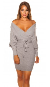 Sexy longsleeve knit dress wrap look Grey