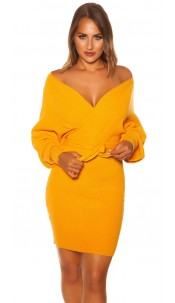 Sexy longsleeve knit dress wrap look Mustard