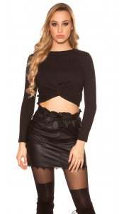 Sexy long sleeve crop shirt with knot look Black
