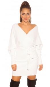 Sexy longsleeve knit dress wrap look White