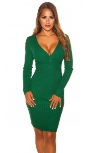 Sexy V Cut Knit Dress Green