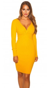 Sexy V Cut Knit Dress Mustard