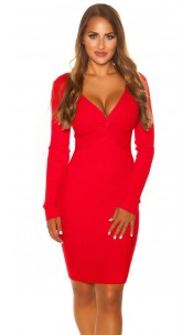 Sexy V Cut Knit Dress Red