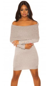 Sexy knit dress with XXLcollar & Buttons Grey