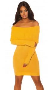 Sexy knit dress with XXLcollar & Buttons Mustard