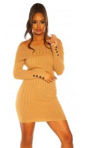 Sexy knit dress with XXL collar Beige