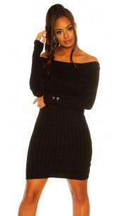 Sexy knit dress with XXL collar Black