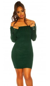 Sexy knit dress with XXL collar Green