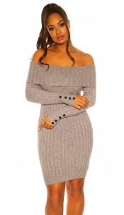 Sexy knit dress with XXL collar Grey