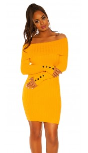 Sexy knit dress with XXL collar Mustard