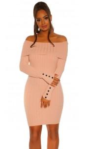 Sexy knit dress with XXL collar Pink