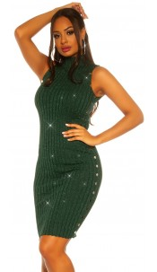 SexyTurtleneck knit dress with lurex Green