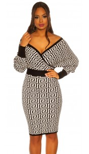 Sexy longsleeve knit dress with pattern Blackbeige