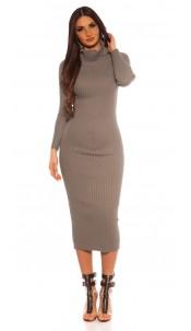 Sexy Longsleeve Turtleneck Knit dress Grey
