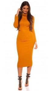 Sexy Longsleeve Turtleneck Knit dress Mustard