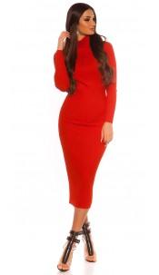 Sexy Longsleeve Turtleneck Knit dress Red