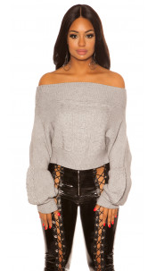 Sexy Cold Shoulder knit jumper with cable stitch Gray