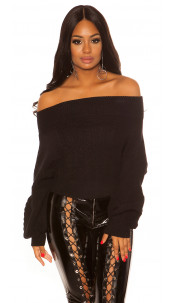 Sexy Cold Shoulder knit jumper with cable stitch Black