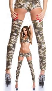 Sexy GoGo Latex Tight High Leg Warmers Army