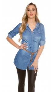 Trendy Light Denim Shirt / Tunic with Belt Blue