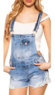 Sexy denim dungarees shorts with lace Jeansblue