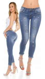 Sexy Skinny Jeans with decoration elements Jeansblue
