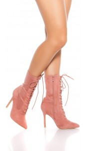 Sexy high heel ankle boots with laces Antiquepink