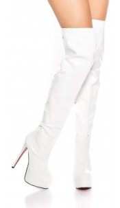 Sexy platform overknees boots patent leather look White